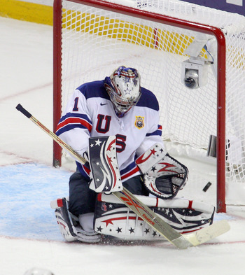 BUFFALO, NY - JANUARY 03: Jack Campbell #1 of the United States makes a save against  Canada during the 2011 IIHF World U20 Championship Semi Final game between United States and Canada on January 3, 2011 in Buffalo, New York.  (Photo by Rick Stewart/Gett