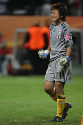 FRANKFURT AM MAIN, GERMANY - JULY 17:  Ayumi Kaihori of Japan celewbrates saving a penalty during the FIFA Women's World Cup Final match between Japan and USA at the FIFA World Cup stadium Frankfurt on July 17, 2011 in Frankfurt am Main, Germany. Japan wo