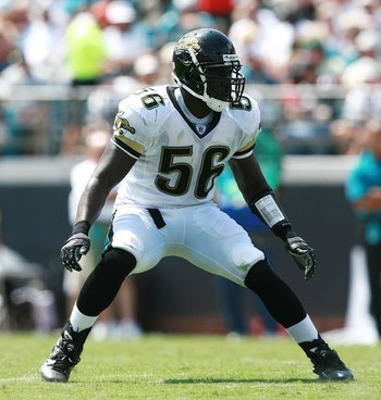 JACKSONVILLE, FL - SEPTEMBER 16:  Linebacker Justin Durant #56 of the Jacksonville Jaguars tracks the play against the Atlanta Falcons at Alltel Stadium on September 16, 2007 in Jacksonville, Florida. The Jaguars defeated the Falcons 13-7.  (Photo by Doug