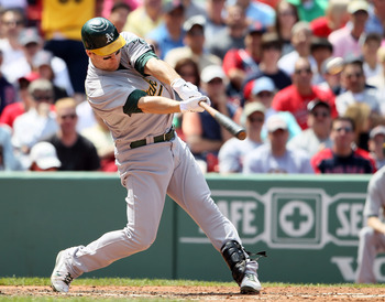 BOSTON, MA - JUNE 04:  Josh Willingham #16 of the Oakland Athletics gets a 2 RBI hit in the sixth inning against the Boston Red Sox on June 4, 2011 at Fenway Park in Boston, Massachusetts.  (Photo by Elsa/Getty Images)