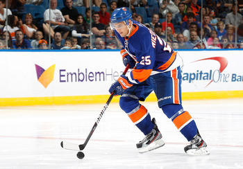 UNIONDALE, NY - JULY 16: Nino Niederreiter #25 of the New York Islanders carries the puck during the skills compitetion on July 16, 2011 at Nassau Coliseum in Uniondale, New York. (Photo by Mike Stobe/Getty Images)