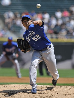 CHICAGO, IL - JULY 06: Bruce Chen # 52 of the Kansas City Royals pitches against the Chicago White Sox  on July 6, 2011 at U.S. Cellular Field in Chicago, Illinois.  (Photo by David Banks/Getty Images)