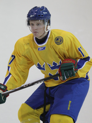 LAKE PLACID, NY - AUGUST 05:  Carl Klingberg #17 of Team Sweden skates against Team Finland at the USA Hockey National Evaluation Camp on August 5, 2010 in Lake Placid, New York.  (Photo by Bruce Bennett/Getty Images)