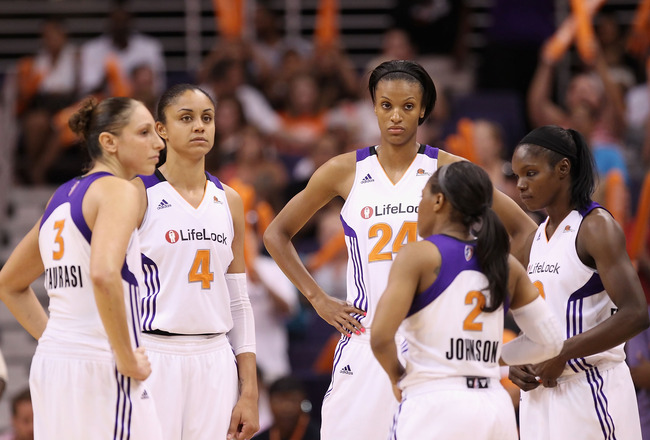 PHOENIX, AZ - JULY 05:  (L-R) Diana Taurasi #3, Candice Dupree #4, DeWanna Bonner #24, Temeka Johnson #2 and Marie Ferdinand-Harris #8 of the Phoenix Mercury during the WNBA game against the Los Angeles Sparks at US Airways Center on July 5, 2011 in Phoen