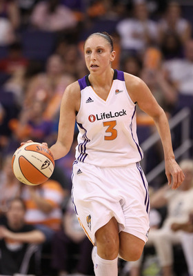 PHOENIX, AZ - JULY 05:  Diana Taurasi #3 of the Phoenix Mercury handles the ball during the WNBA game against the Los Angeles Sparks at US Airways Center on July 5, 2011 in Phoenix, Arizona.  The Mercury defeated the Sparks 101-82.  NOTE TO USER: User exp