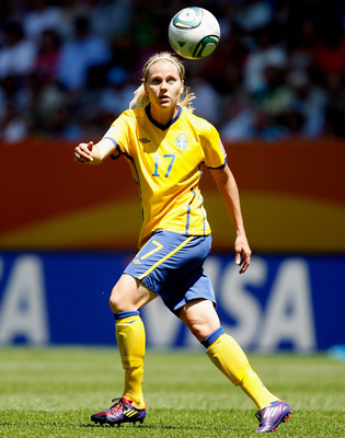 AUGSBURG, GERMANY - JULY 10:  Lisa Dahlkvist of Sweden runs with the ball during the FIFA Women's World Cup 2011 Quarter Final match between Sweden and Australia at the FIFA Women's World Cup Stadium Augsburg on July 10, 2011 in Augsburg, Germany.  (Photo