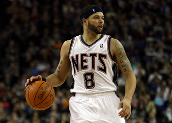 LONDON, ENGLAND - MARCH 04:  #8 Deron Williams of the Nets in action during the NBA match between New Jersey Nets and the Toronto Raptors at the O2 Arena on March 4, 2011 in London, England. NOTE TO USER: User expressly acknowledges and agrees that, by do