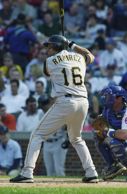 CHICAG0-SEPTEMBER 28:  Third baseman Aramis Ramirez #16 of the Pittsburgh Pirates at the plate during the game against the Chicago Cubs on September 28, 2002 at Wrigley Field in Chicago, IL.  The cubs Defeated the pirates 5-4. (Photo by Jonathan Daniel /G