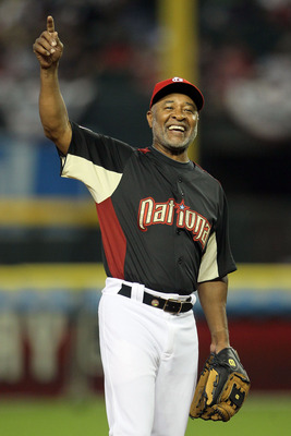 PHOENIX, AZ - JULY 10:  Hall of Famer Ozzie Smith reacts during the 2011 Taco Bell All-Star Legends & Celebrity Softball Game at Chase Field on July 10, 2011 in Phoenix, Arizona.  (Photo by Jeff Gross/Getty Images)
