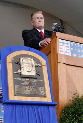 COOPERSTOWN, NY - JULY 25:  2010 inductee Whitey Herzog gives his speech at Clark Sports Center during the Baseball Hall of Fame induction ceremony on July 25, 20010 in Cooperstown, New York. Herzog served as manager for four teams and finished his career