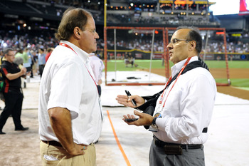 PHOENIX, AZ - JULY 12:  ESPN broadcaster Chris Berman talks with MLB Vice President Joe Torre during batting practice before the start of the 82nd MLB All-Star Game at Chase Field on July 12, 2011 in Phoenix, Arizona.  (Photo by Norm Hall/Getty Images)