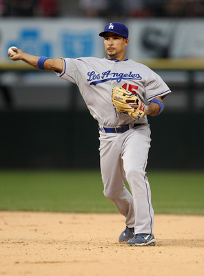 CHICAGO, IL - MAY 22: Rafael Furcal #15 of the Los Angeles Dodgers throws to 1st base against the Chicago White Sox at U.S. Cellular Field on May 22, 2011 in Chicago, Illinois. The White Sox defeated the Dodgers 8-3.  (Photo by Jonathan Daniel/Getty Image