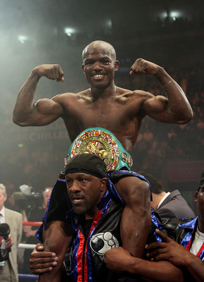 NOTTINGHAM, ENGLAND - MAY 10:  Timothy Bradley celebrates his win against Junior Witter for the WBC Light Welterweight fight on May 10, 2008 at Nottingham Ice Arena in Nottingham, England. (Photo by John Gichigi/Getty Images)