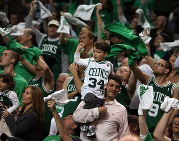 BOSTON - APRIL 18:  The Boston Celtics fans try to rally their team in the second half against the Chicago Bulls in Game One of the Eastern Conference Quarterfinals during the 2009 NBA Playoffs at TD Banknorth Garden on April 18, 2009 in Boston, Massachus