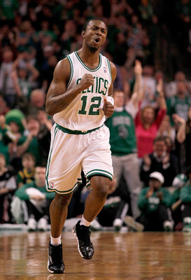 BOSTON - FEBRUARY 13:  Von Wafer #12 of the Boston Celtics reacts after scoring against the Miami Heat at TD Garden on February 13, 2011 in Boston, Massachusetts. The Celtics won 85-82. NOTE TO USER: User expressly acknowledges and agrees that, by downloa