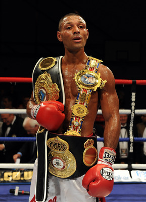 SHEFFIELD, ENGLAND - JUNE 25:  Kell Brook of Great Britain poses after victory over Lovemore N'dou of Australia following their WBA International Welterweight title fight on June 25, 2011 at the Hillsborough Leisure Centre in Sheffield, England.  (Photo b