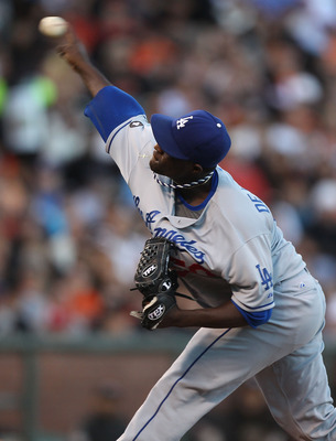 SAN FRANCISCO, CA - JULY 19:  Rubby De La Rosa #50 of the Los Angeles Dodgers pitches against the San Francisco Giants at AT&T Park on July 19, 2011 in San Francisco, California.  (Photo by Jed Jacobsohn/Getty Images)