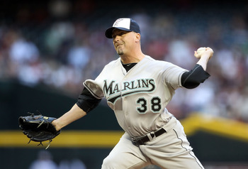PHOENIX, AZ - MAY 30:  Relief pitcher Randy Choate #38 of the Florida Marlins pitches against the Arizona Diamondbacks during the Major League Baseball game at Chase Field on May 30, 2011 in Phoenix, Arizona.  (Photo by Christian Petersen/Getty Images)
