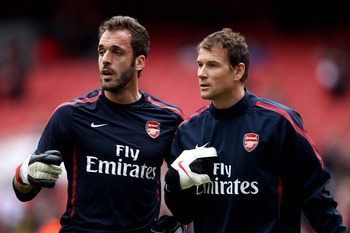 LONDON, ENGLAND - APRIL 02:  Goalkeepers Jens Lehmann and Manuel Almunia of Arsenal warm up prior to the Barclays Premier League match between Arsenal and Blackburn Rovers at the Emirates Stadium on April 2, 2011 in London, England.  (Photo by Julian Finn