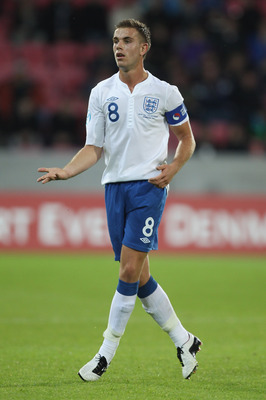 HERNING, DENMARK - JUNE 15:  Jordan Henderson of England during the UEFA European Under-21 Championship Group B match between Ukraine and England at the Herning Stadium on June 15, 2011 in Herning, Denmark.  (Photo by Ian Walton/Getty Images)