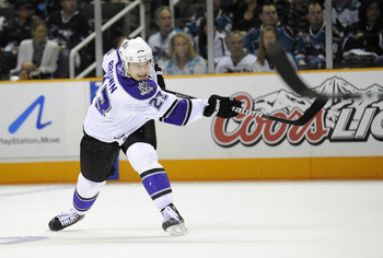 SAN JOSE, CA - APRIL 16: Dustin Brown #23 of the Los Angeles Kings shoots on goal against the San Jose Sharks in Game Two of the Western Conference Quarterfinals  during the 2011 NHL Stanley Cup Playoffs at the HP Pavilion on April 16, 2011 in San Jose, C