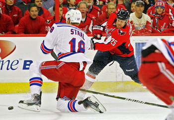 WASHINGTON , DC - APRIL 23: Jason Chimera #25 of the Washington Capitals shoots the puck past Marc Staal #18 of the New York Rangers in Game Five of the Eastern Conference Quarterfinals during the 2011 NHL Stanley Cup Playoffs at the Verizon Center on Apr