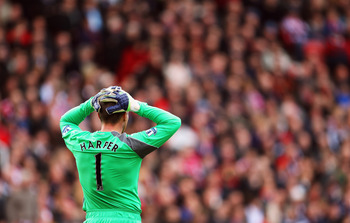 STOKE ON TRENT, ENGLAND - MARCH 19: Newcastle United goal keeper Stephen Harper looks on during the Barclays Premier League match between Stoke City and Newcastle United at Britannia Stadium on March 19, 2011 in Stoke on Trent, England.  (Photo by Bryn Le