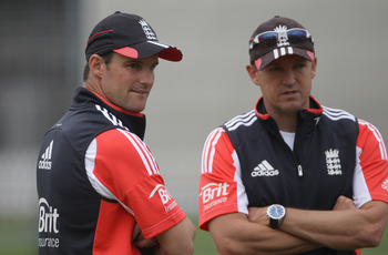 LONDON, ENGLAND - JULY 20:  Andrew Strauss and Andy Flower of England looks on during the England nets session at Lord's Cricket Ground on July 20, 2011 in London, England.  (Photo by Tom Shaw/Getty Images)
