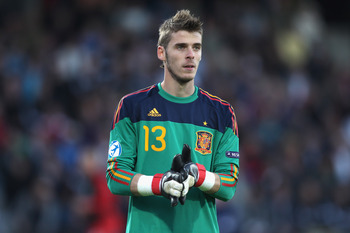 ARHUS, DENMARK - JUNE 25:  David de Gea of Spain during the UEFA European Under-21 Championship Final match between Spain and Switzerland at the Arhus Stadium on June 25, 2011 in Arhus, Denmark.  (Photo by Michael Steele/Getty Images)