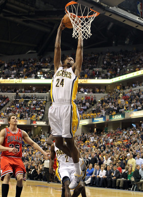 INDIANAPOLIS, IN - APRIL 21:  Paul George #24 of the Indiana Pacers shoots against the Chicago Bulls in Game three of the Eastern Conference Quarterfinals in the 2011 NBA Playoffs on April 21, 2011  at Conseco Fieldhouse in Indianapolis, Indiana.  NOTE TO