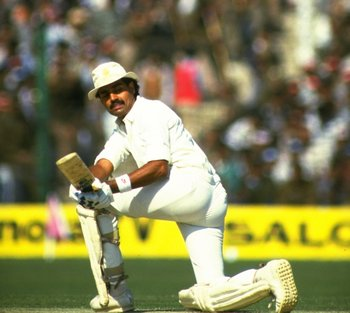 Jan-Feb 1985:  Dilip Vengsarker of India in action during the Fifth Test match against England at Green Park in Kanpur, India. The match ended in a draw. \ Mandatory Credit: Adrian  Murrell/Allsport