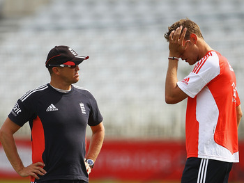 NOTTINGHAM, ENGLAND - JULY 05:  Andy Flower, Coach of England talks to Stuart Broad during an England nets session at Trent Bridge on July 5, 2011 in Nottingham, England.  (Photo by Matthew Lewis/Getty Images)