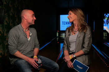 NEW YORK, NY - FEBRUARY 26:  Tennis legends Andre Agassi (L) and Steffi Graf participate in an interview with the media at the 2011 NYC Tennisbowl at Bowlmor Lanes in New York City on February 26, 2011 in New York City.  (Photo by Getty Images for the Aga