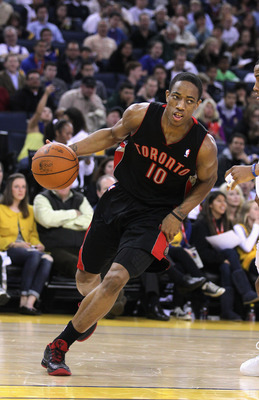 OAKLAND, CA - MARCH 25: DeMar DeRozan #10 of the Toronto Raptors in action against the Golden State Warriors at Oracle Arena on March 25, 2011 in Oakland, California. NOTE TO USER: User expressly acknowledges and agrees that, by downloading and or using t