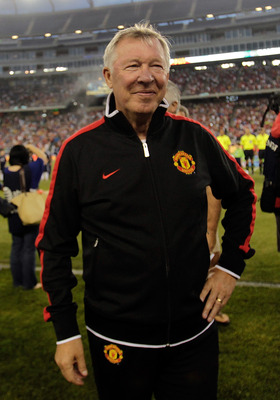 FOXBORO, MA - JULY 13:  Sir Alex Ferguson of the Manchester United before a friendly match against the New England Revolution during a friendly match at Gillette Stadium on July 13, 2011 in Foxboro, Massachusetts. (Photo by Jim Rogash/Getty Images)