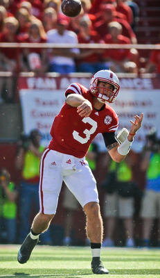 LINCOLN, NE - OCTOBER 16: Quarterback Taylor Martinez #3 of the Nebraska Cornhuskers throws downfield during first half action of their game at Memorial Stadium on October 16, 2010 in Lincoln, Nebraska. Texas Defeated Nebraska 20-13. (Photo by Eric Franci