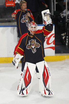 SUNRISE, FL - MARCH 8: Goaltender Tomas Vokoun #29 of the Florida Panthers waves to the crowd after being announced as one of the three stars of the game against the Chicago Blackhawks on March 8, 2011 at the BankAtlantic Center in Sunrise, Florida. The P