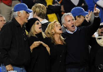 LOS ANGELES, CA - OCTOBER 13:  (L-R) Actor James Brolin, singer Barbra Streisand, Jamie McCourt and owner of the Los Angeles Dodgers Frank McCourt watch Game Four against the Philadelphia Phillies in the National League Championship Series during the 2008