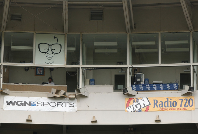 CHICAGO - JUNE 15:  A general view of the WGN television and radio broadcast booths at Wrigley Field on June 15, 2004 in Chicago, Illinois.  (Photo by Jonathan Daniel/Getty Images)