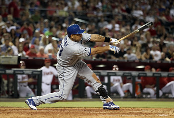 PHOENIX, AZ - JULY 15:  Juan Rivera #33 of the Los Angeles Dodgers bats against the Arizona Diamondbacks during the Major League Baseball game at Chase Field on July 15, 2011 in Phoenix, Arizona. The Dodgers defeated the Diamondbacks 6-4.  (Photo by Chris