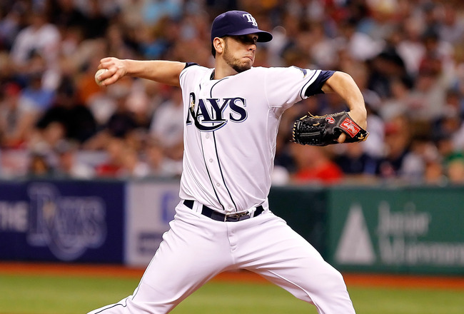 ST PETERSBURG, FL - JULY 16:  :  Pitcher James Shields #33 of the Tampa Bay Rays pitches against the Boston Red Sox during the game at Tropicana Field on July 16, 2011 in St. Petersburg, Florida.  (Photo by J. Meric/Getty Images)
