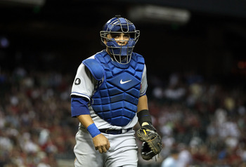PHOENIX, AZ - JULY 15:  Catcher Dioner Navarro #30 of the Los Angeles Dodgers during the Major League Baseball game against the Arizona Diamondbacks at Chase Field on July 15, 2011 in Phoenix, Arizona. The Dodgers defeated the Diamondbacks 6-4.  (Photo by