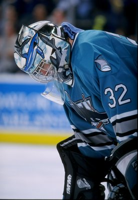 28 Mar 1998:  Goaltender Kelly Hrudey of the San Jose Sharks in action during a game against the Dallas Stars at Reunion Arena in Dallas, Texas. The Sharks defeated the Stars 4-1. Mandatory Credit: Stephen Dunn  /Allsport