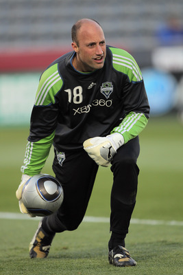 COMMERCE CITY, CO - APRIL 22:  Goalkeeper Kasey Keller #18 of the Seattle Sounders FC warms up prior to facing the Colorado Rapids at Dick's Sporting Goods Park on April 22, 2011 in Commerce City, Colorado.  (Photo by Doug Pensinger/Getty Images)
