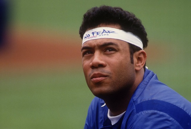 30 MAY 1993:  A CANDID PORTRAIT OF ROBERTO ALOMAR OF THE TORONTO BLUE JAYS PRIOR TO THEIR GAME AT THE OAKLAND A'S. Mandatory Credit: Otto Greule/ALLSPORT