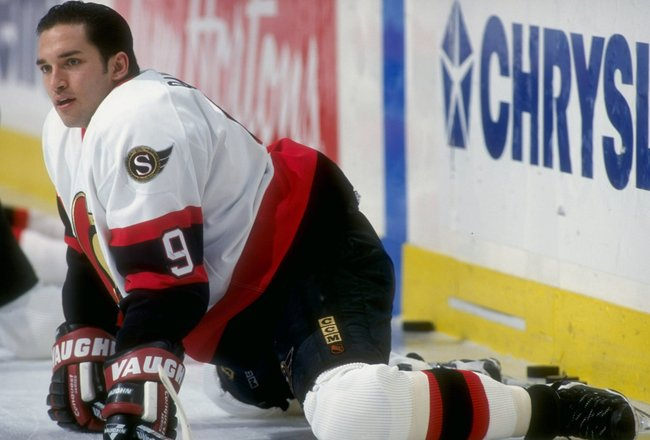 20 Dec 1997: Alexandre Daigle #9 of the Ottawa Senators stretches before the game against the Montreal Canadiens at the Molson Center in Montreal,  Canada. Montreal defeated Ottawa 4-1. Mandatory Credit: Robert Laberge  /Allsport