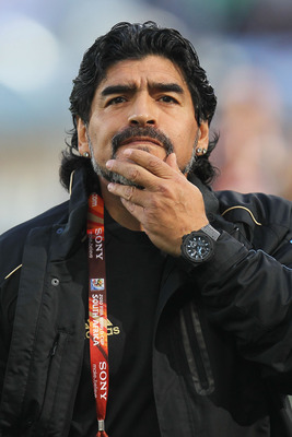 CAPE TOWN, SOUTH AFRICA - JULY 03:  Diego Maradona head coach of Argentina looks thoughtful prior to the 2010 FIFA World Cup South Africa Quarter Final match between Argentina and Germany at Green Point Stadium on July 3, 2010 in Cape Town, South Africa.