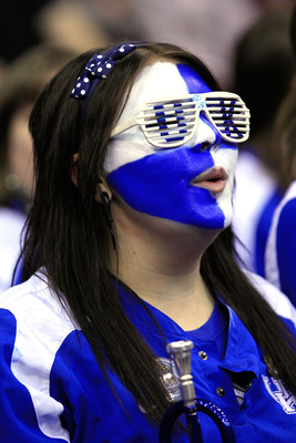 NEWARK, NJ - MARCH 27:  A member of the Kentucky Wildcats band looks on during their game against the North Carolina Tar Heels in the east regional final of the 2011 NCAA men's basketball tournament at Prudential Center on March 27, 2011 in Newark, New Je