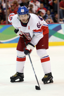 VANCOUVER, BC - FEBRUARY 21:  Jaromir Jagr of Czech Republic is seen during the ice hockey men's preliminary game between against Russia on day 10 of the Vancouver 2010 Winter Olympics at Canada Hockey Place on February 21, 2010 in Vancouver, Canada.  (Ph