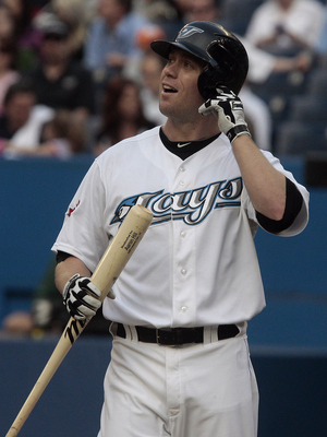 TORONTO, CANADA - MAY 30:  Aaron Hill #2 of the Toronto Blue Jays reacts after a strike against the Cleveland Indians during MLB action at Rogers Centre May 30, 2011 in Toronto, Ontario, Canada. (Photo by Abelimages/Getty Images)